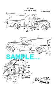 Patent Art: 1940s Fire Engine - Matted