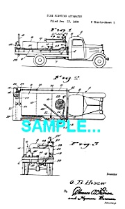 Patent Art: 1940s FIRE ENGINE - Matted (Image1)