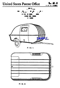 Patent Art: 1960s TEARDROP TRAVEL TRAILER - matted (Image1)