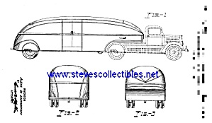 Patent Art: 1930s STREAMLINED BREWERY Tractor TRAILER (Image1)