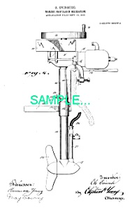 Patent Art: 1911 EVINRUDE OUTBOARD MOTOR - Matted Print (Image1)