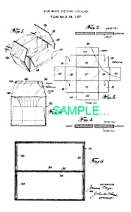 Patent Art: 1940s BOOK MATCH SHIPPING CONTAINER -matted (Image1)