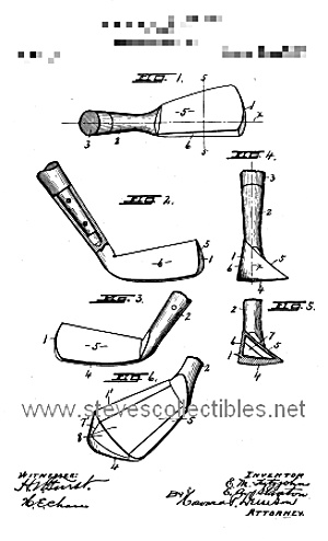 Patent Art: 1918 GOLF CLUB DESIGN - Matted for Framing (Image1)