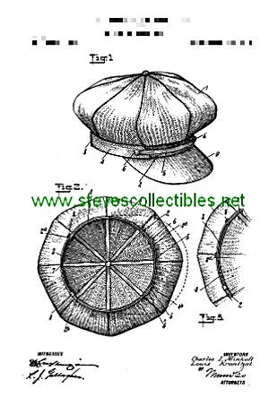 Patent Art: 1912 Golf Golfer Cap Hat - Matted
