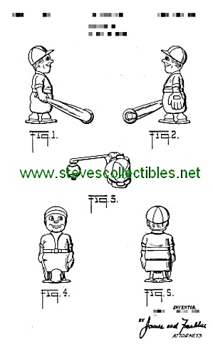 Patent Art: 1950s BASEBALL PLAYER RAMP WALKER TOY (Image1)