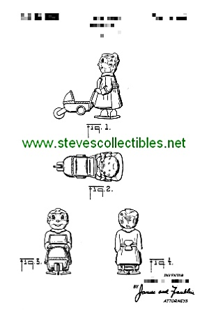 Patent Art: 1950s NURSEMAID W/BABY CARR RAMP WALKER TOY (Image1)