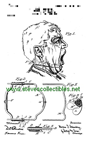 Patent Art: 1907 Scary DENTAL APPARATUS - Matted Print (Image1)