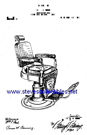 Patent Art: 1909 Barber shop BARBER CHAIR - matted (Image1)