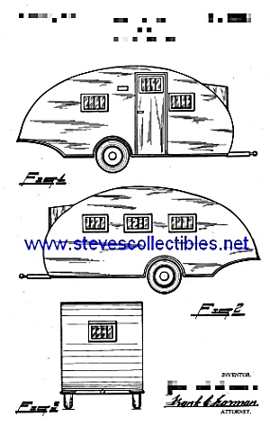 Patent Art: 1930s Alma Travel Trailer - Matted