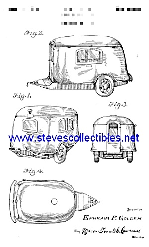 Patent Art: 1930s Tiny Auto Trailer Coach - Matted