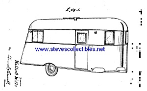Patent Art: 1930s Wells Travel Trailer - Matted