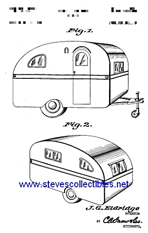 Patent Art: 1950s Eldridge Travel Trailer - Matted