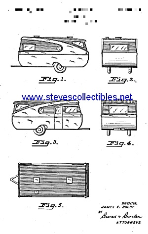 Patent Art: 1940s Tin Can Travel Trailer - Matted