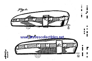 Patent Art: 1950s Streamlined Travel Trailer - Matted