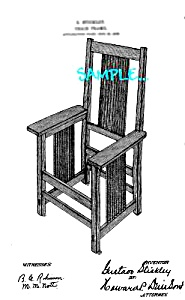 Patent Art: 1900s GUSTAVE STICKLEY Mission Style Chair (Image1)
