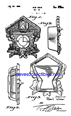 Patent Art: 1940s Cuckoo Clock Shaped Wall Pocket