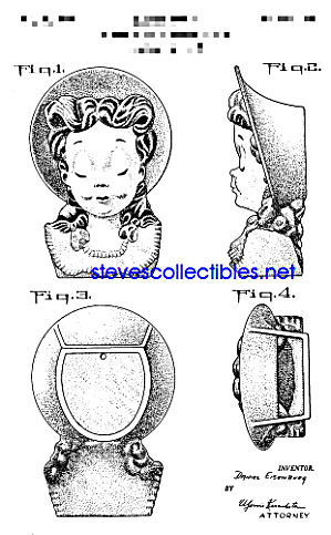 Patent Art: 1950s Girl in Hat Spaulding WALL POCKET (Image1)