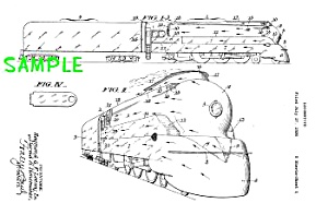 Patent Art: 1930s LOEWY Streamlined TRAIN - Matted (Image1)