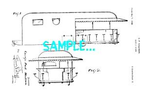 Patent Art: 1940s MOBILE DINER DESIGN - Matted Print (Image1)