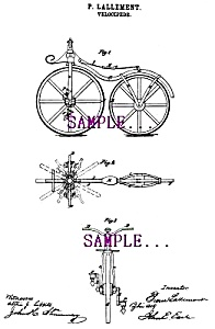 Patent Art: 1860s FIRST BICYCLE - Matted Print (Image1)