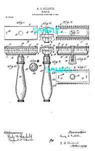 Patent Art: 1900s FIRST Gillette SAFETY RAZOR - matted (Image1)