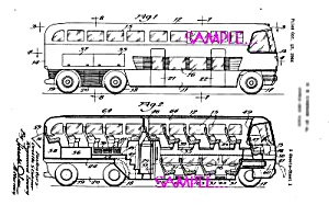 Patent Art: 1950s R. Loewy etal. TRAVEL BUS - Matted (Image1)