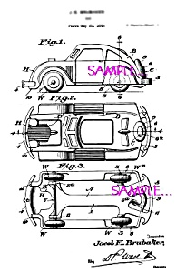 Patent Art: 1930s HUBLEY Toy Car (Looks like a Beetle) (Image1)