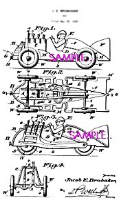 Patent Art: 1930s HUBLEY Racer with Tail Fin - Matted (Image1)