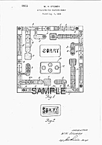 Patent Art: 1930s Sorry Boardgame - Matted