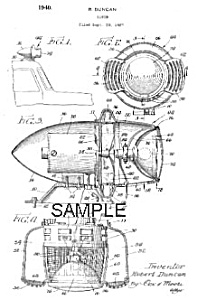 Patent Art: 1940s Fire Car Siren - Matted