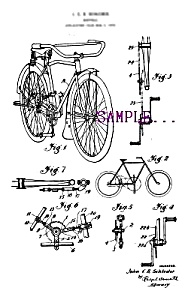 Patent Art: 1920s BICYCLE DESIGN - Matted Print (Image1)