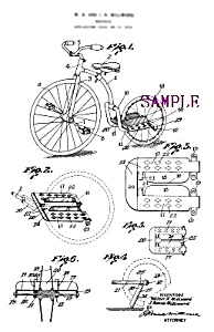 Patent Art: 1920s BICYCLE C - Matted Print (Image1)