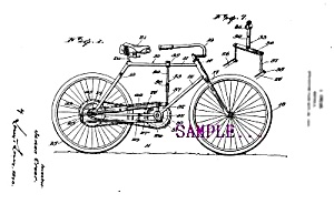 Patent Art: 1920s BICYCLE D - Matted Print (Image1)
