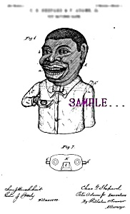 Patent Art: 1880s JOLLY BLACK Mechanical BANK - matted (Image1)