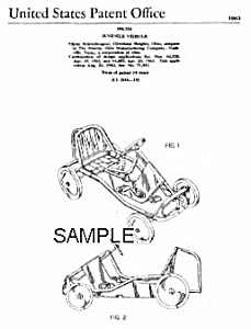 1960s Murray PEDAL CAR Patent-Matted (Image1)