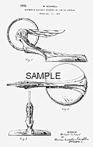 Patent Art: 1933 Art Deco PONTIAC MASCOT - matted (Image1)