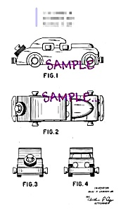 Patent Art: 1940s NOMA Toy SEDAN - matted (Image1)