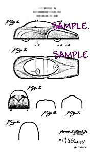 Patent Art: 1940s BUBBLE TOP TOY CAR -matted (Image1)