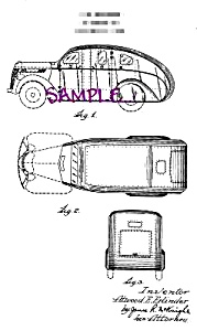 Patent Art: 1940s TOY ARMORED CAR - matted (Image1)