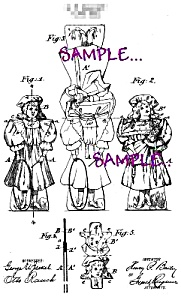 Patent Art: 1890s TOY PAPER DOLL - Matted Print (Image1)