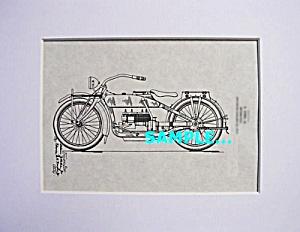Patent Art: 1919 HARLEY DAVIDSON Motorcycle - matted (Image1)
