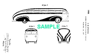 Patent Art: 1930s Brook Stevens Streamline Bus - Matted