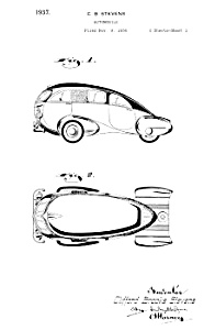 Patent Art: 1930s Brook Stevens STREAMLINE CAR - Matted (Image1)