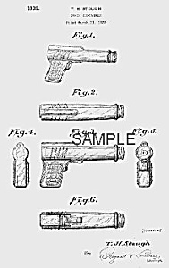 Patent Art: 1930s PISTOL Candy Container - matted (Image1)