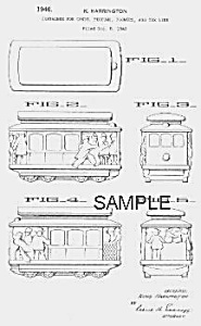 Patent Art: 1940s Streetcar Candy Container - Matted
