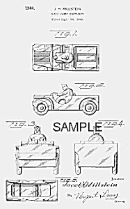 Patent Art: 1940s ARMY JEEP Candy Container - matted (Image1)