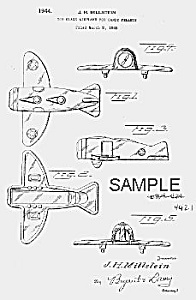 Patent Art: 1940s Airplane Candy Container - Matted
