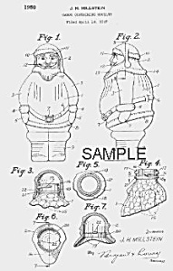 Patent Art: 1950s Santa Claus Candy Container - Matted