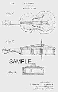 Patent Art: 1940s Violin Candy Container - Matted