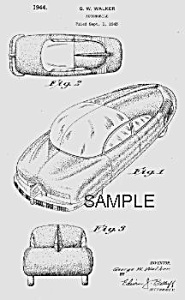 Patent Art: 1940s BOHN Future Streamlined Car - Matted (Image1)